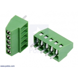 Screw Terminal Block: 5-Pin, 0.1″ Pitch, Side Entry (2-Pack)