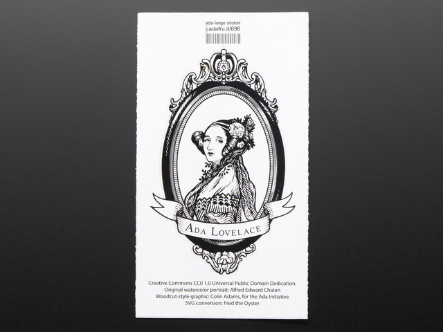 Ada Lovelace, large, oval black and white - Sticker!