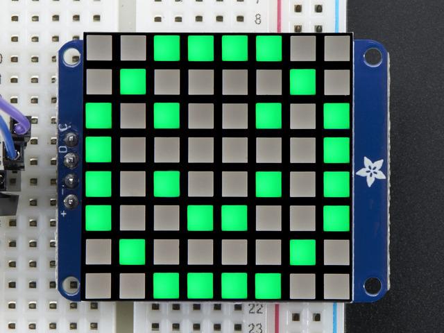 Small 1.2 8x8 Bright Square Pure Green LED Matrix + Backpack