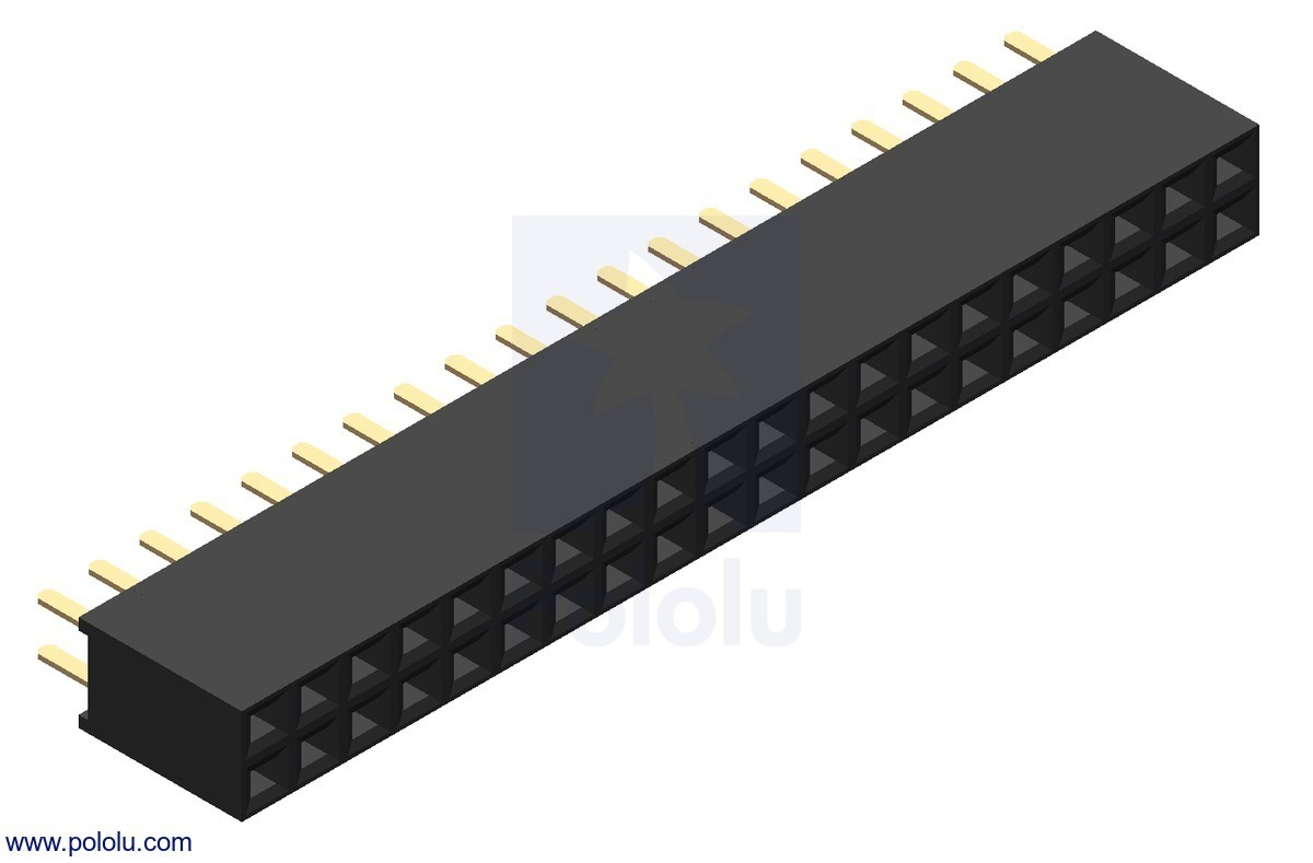 0.100 (inches) (2.54 mm) Female Header: 2x20-Pin, Straight