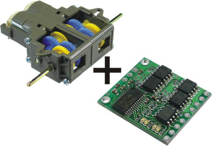Low-Voltage Dual Serial Motor Controller + Tamiya Double Gearbox
