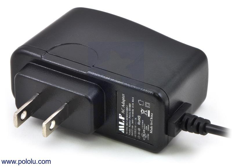 Wall Power Adapter: 5VDC, 1A, 5.5×2.1mm Barrel Jack, Center-Pos