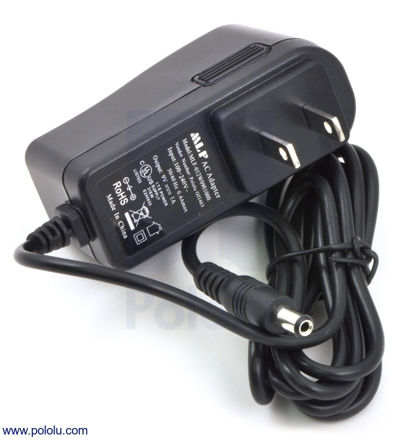 Wall Power Adapter: 9VDC, 1A, 5.5×2.1mm Barrel Jack, Center-Pos