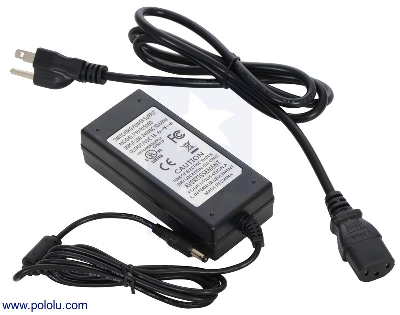 Wall Power Adapter: 9VDC, 5A, 5.5×2.1mm Barrel Jack, Center-Pos