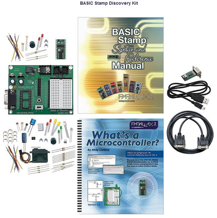 Parallax BASIC Stamp Discovery Kit - Serial (with USB adapter an