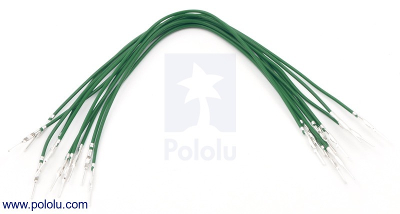Wires with Pre-crimped Terminals 10-Pack M-M 6 (inches) Green