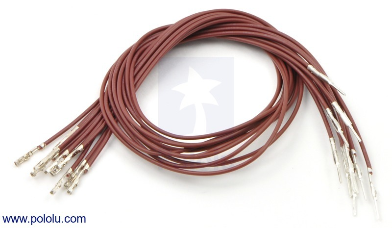Wires with Pre-crimped Terminals 10-Pack M-F 12 (inches) Brown