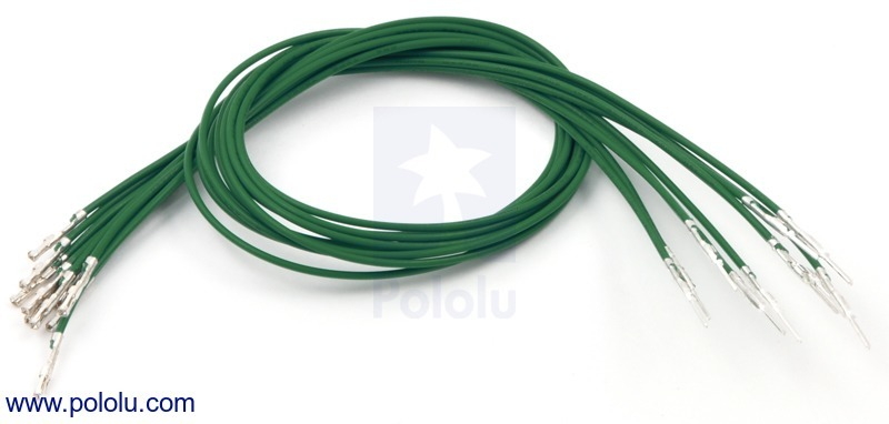 Wires with Pre-crimped Terminals 10-Pack M-F 12 (inches) Green
