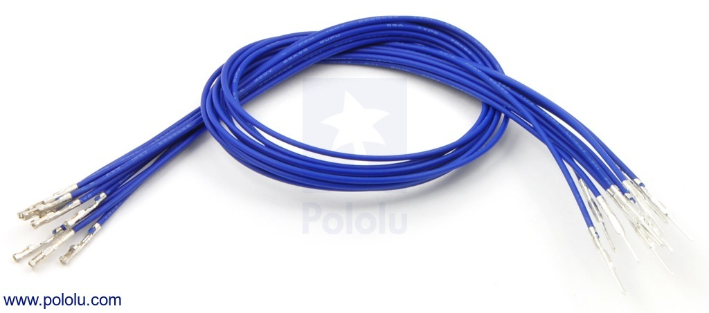 Wires with Pre-crimped Terminals 10-Pack M-F 12 (inches) Blue