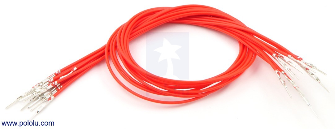 Wires with Pre-crimped Terminals 10-Pack M-M 12 (inches) Red