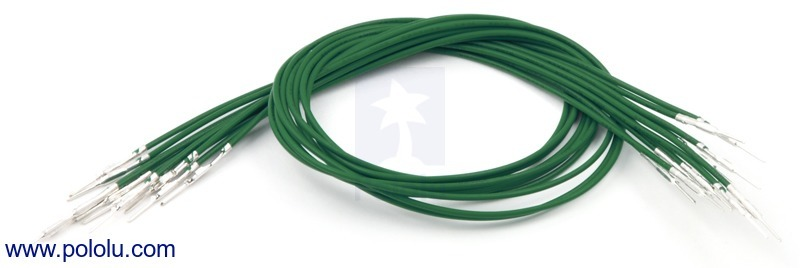 Wires with Pre-crimped Terminals 10-Pack M-M 12 (inches) Green