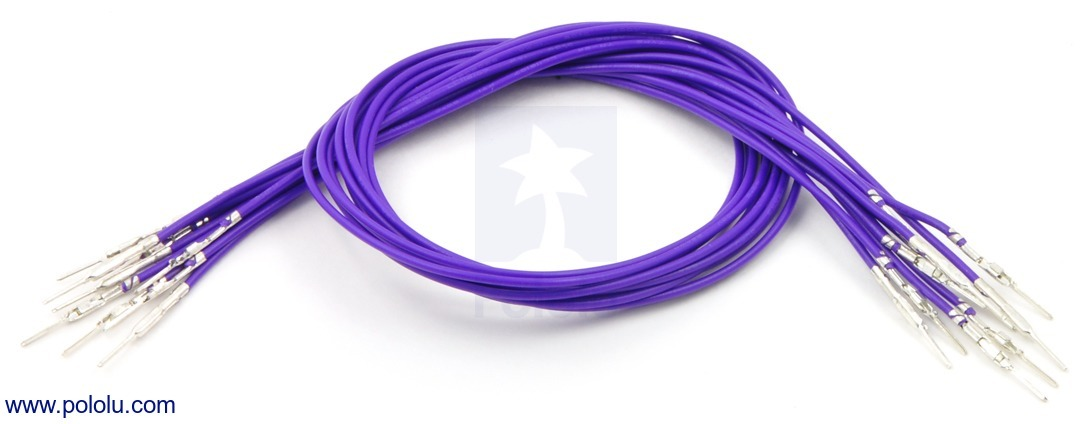 Wires with Pre-crimped Terminals 10-Pack M-M 12 (inches) Purple