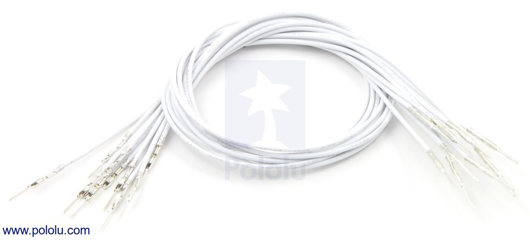 Wires with Pre-crimped Terminals 10-Pack M-M 12 (inches) White
