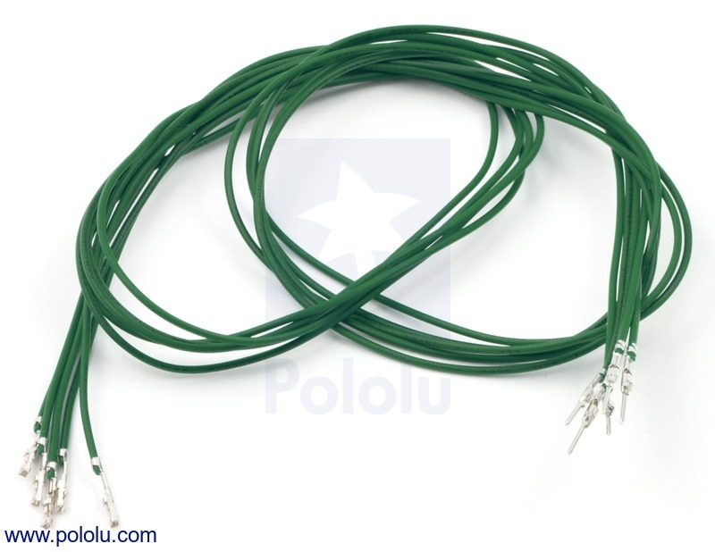 Wires with Pre-crimped Terminals 5-Pack M-F 24 (inches) Green