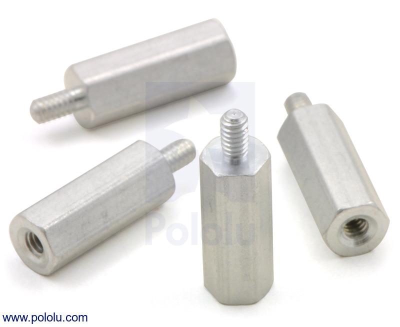 Aluminum Standoff: 1/2 (inches) Length, 2-56 Thread, M-F (4-Pack