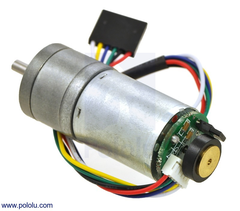 20.4:1 Metal Gearmotor 25Dx50L mm HP 6V with 48 CPR Encoder