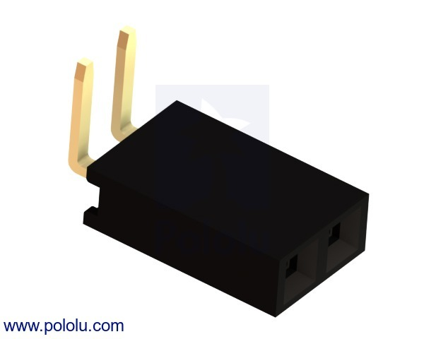 0.100 (inches) (2.54 mm) Female Header: 1x2-Pin, Right-Angle