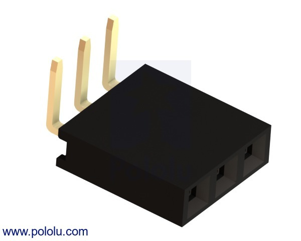 0.100 (inches) (2.54 mm) Female Header: 1x3-Pin, Right-Angle