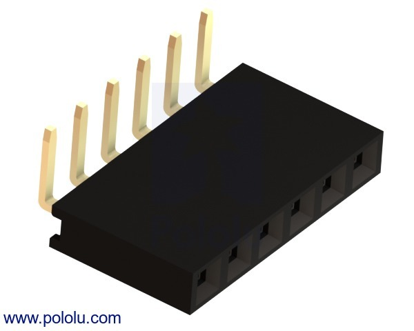 0.100 (inches) (2.54 mm) Female Header: 1x6-Pin, Right-Angle