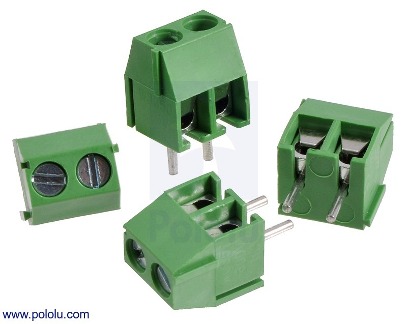 Screw Terminal Block: 2-Pin, 3.5 mm Pitch, Side Entry (4-Pack)