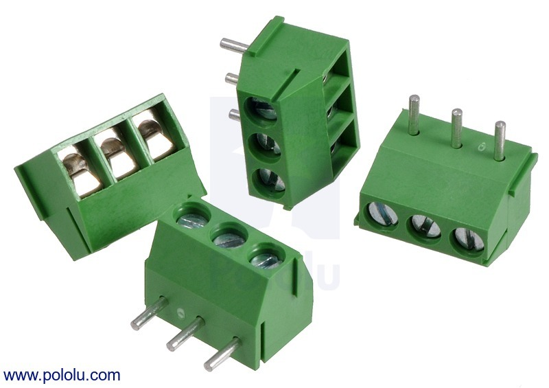 Screw Terminal Block: 3-Pin, 3.5 mm Pitch, Top Entry (4-Pack)