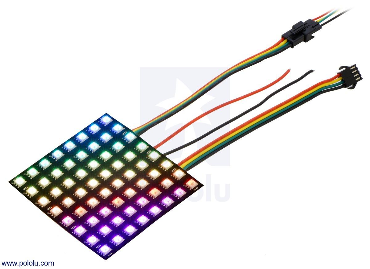 Addressable RGB 8x8-LED Flexible Panel, 5V, 10mm Grid (APA102C)