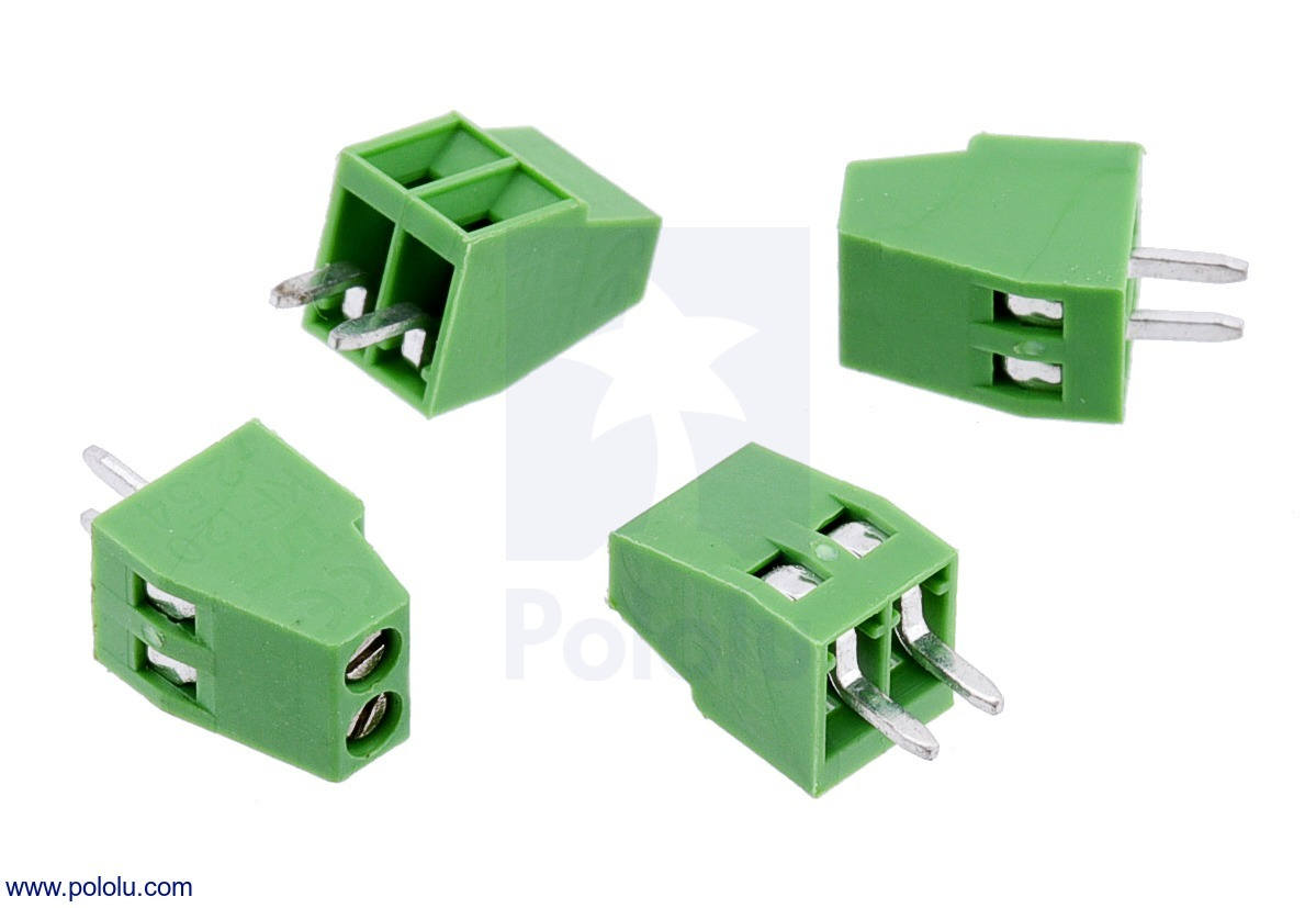 Screw Terminal Block: 2-Pin, 0.1″ Pitch, Side Entry (4-Pack)