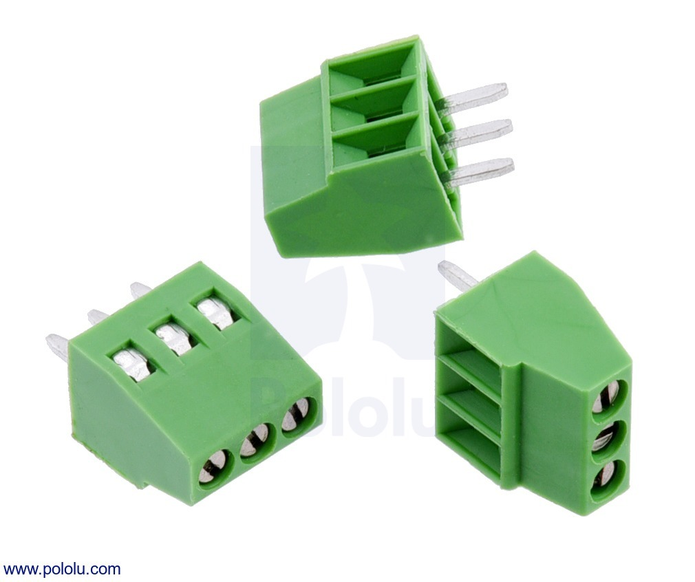 Screw Terminal Block: 3-Pin, 0.1″ Pitch, Side Entry (3-Pack)