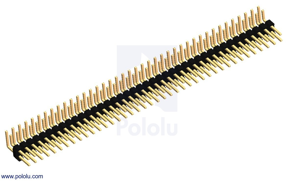 0.100 (inches) (2.54 mm) Breakaway Male Header: 2×40-Pin, Right