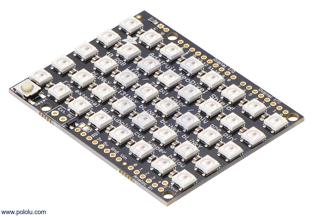 Adafruit 5×8 WS2812 LED NeoPixel Shield for Arduino