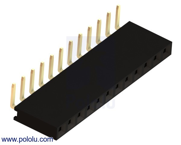 0.100 (inches) (2.54 mm) Female Header: 1x12-Pin, Right-Angle