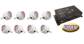8 PROIETTORI A LED RGB CON CONTROLLO DMX
