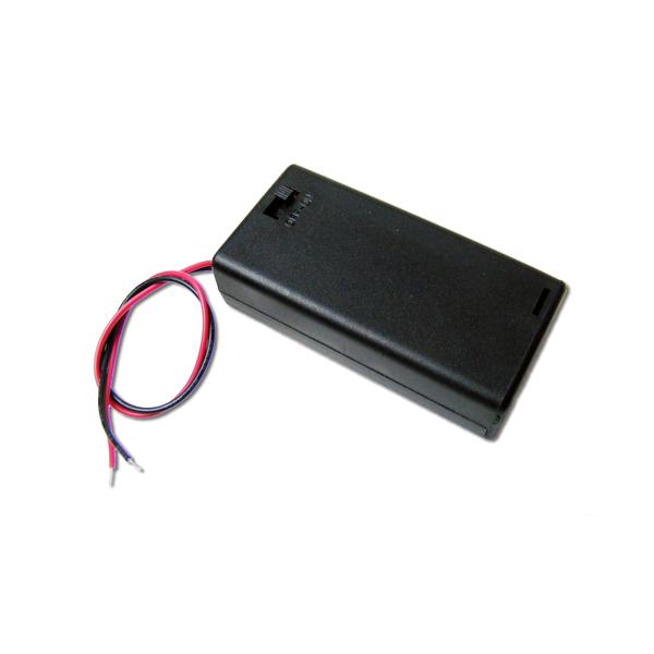 Portabatteria con coperchio e interruttore per 2 stilo AA