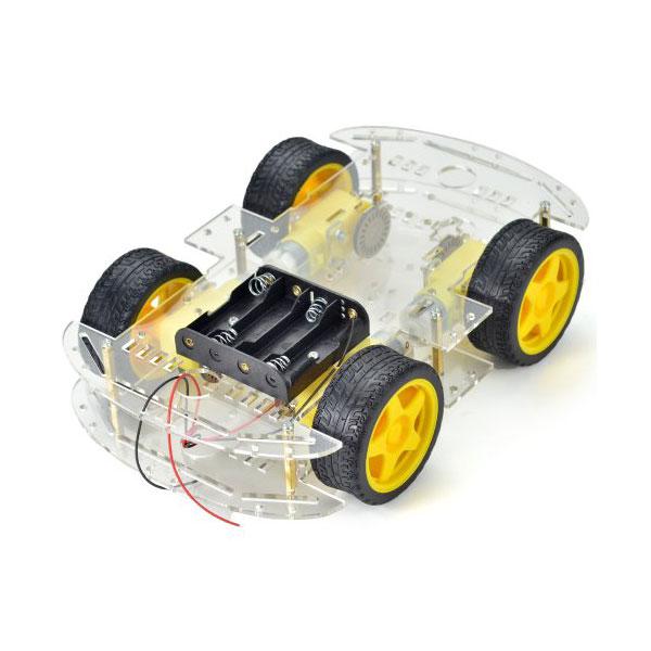 Base Robot 4 ruote+motoriduttori+portabatterie