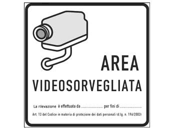 ADESIVO AREA VIDEOSORVEGLIATA 12x12 cm