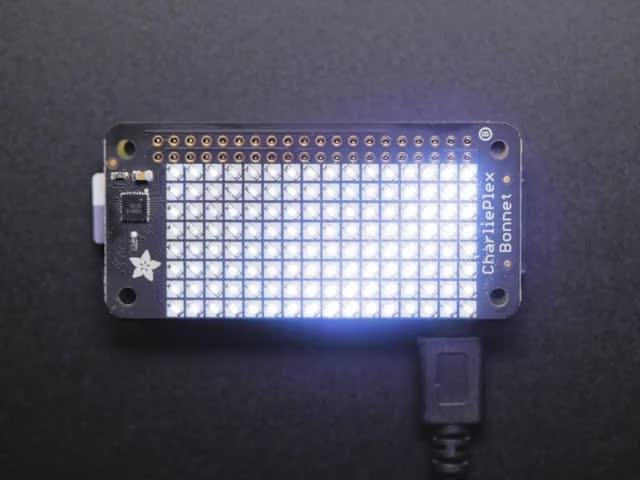Adafruit CharliePlex LED Matrix Bonnet - 8x16 Cool White LEDs