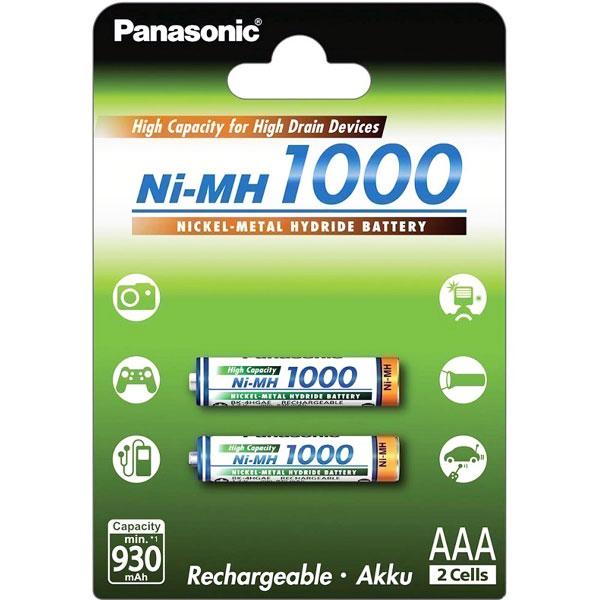 Blister 2pz batterie Panasonic Ni-MH 1,2 V - 1000 mAh AAA