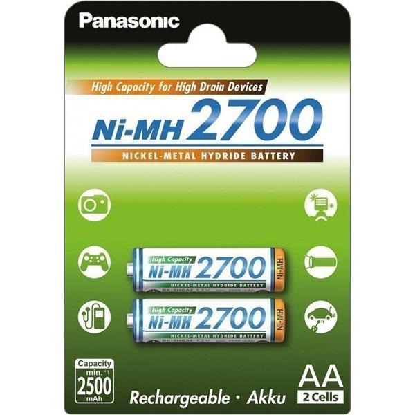 Blister 2pz batterie Panasonic Ni-MH 1,2 V - 2700 mAh AA