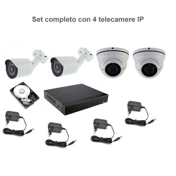 Set di videosorveglianza DVR 4 telecamere IP 2Mpx +Hard disk