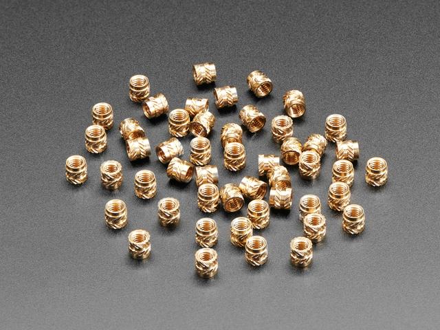 Brass Heat-Set Inserts for Plastic - M3 x 4mm - 50 pack