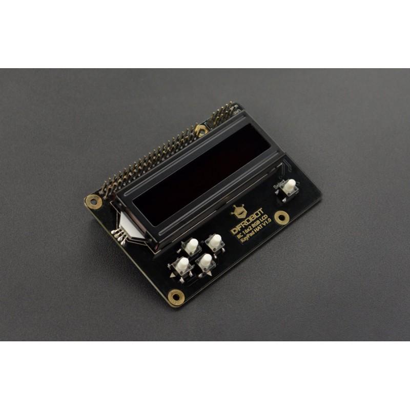 IIC 16x2 RGB LCD KeyPad HAT V1.0 (Black)