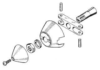 Ogiva alluminio 40 mm asse Ø 5 (spess. 6 mm)