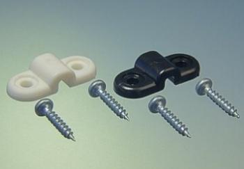 Cavallotti bianchi fissaggio carrelli SINGOLO 4 mm 4 pz