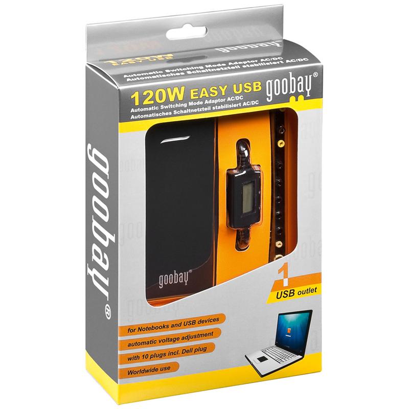 Alimentatore 120W Notebook 5-20V 8.0A con LCD e USB