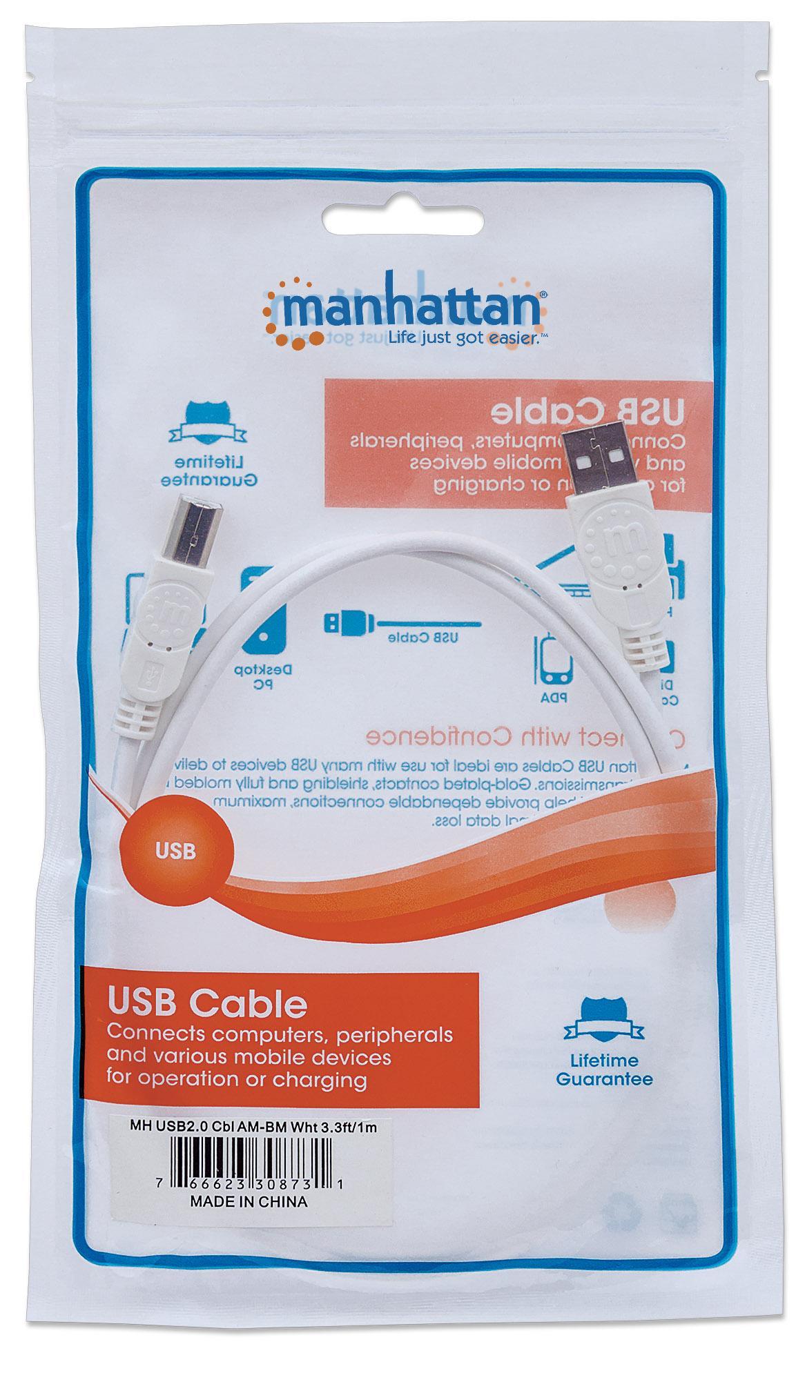 Cavo USB 2.0 A maschio/B maschio 1m Bianco
