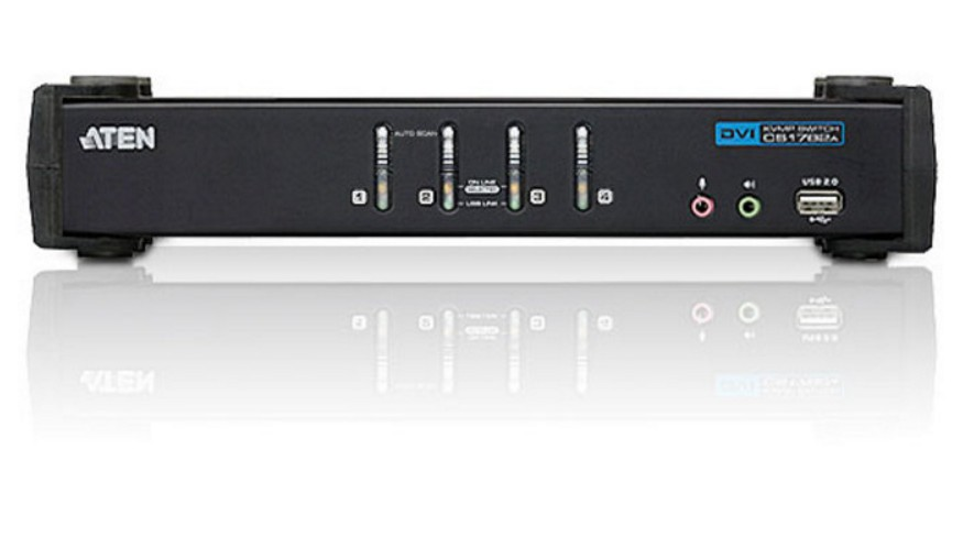 Switch KVM USB DVI a 4 Porte con Audio e Hub USB, CS1764A