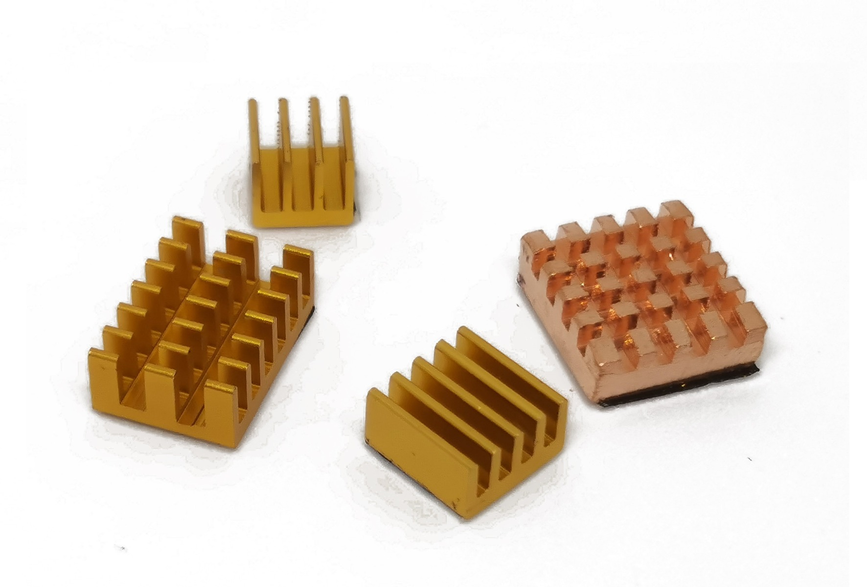 Heat Sink Kit for Raspberry Pi 4B - Gold Aluminum and Copper Blo