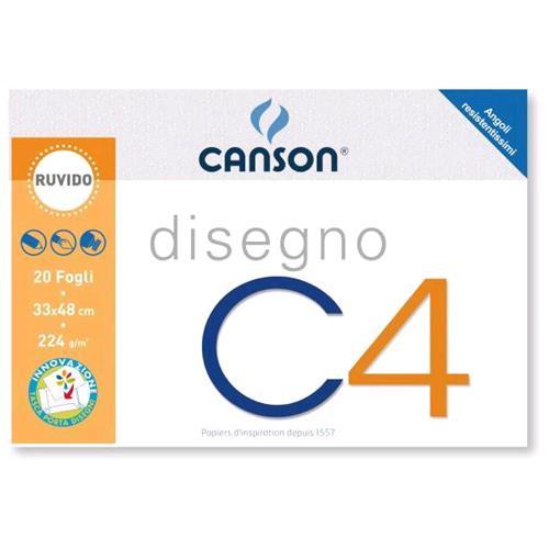 CANSON ALBUM DISEGNO C4 4 ANGOLI CM 33X48 224 GR RUVIDO 20 FOGLI