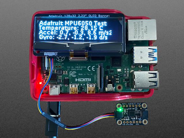 Adafruit 2.23 (inches) Monochrome OLED Bonnet for Raspberry Pi