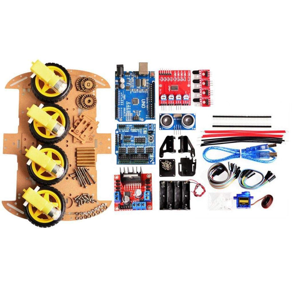 4 ruote Smart Tool Robot Car Chassis Kit HC-SR04 di Sonic monito